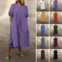 Women Casual Shirt Dress Short Sleeve Pleated Shift Dress Party Loose Midi Dress