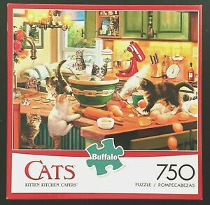 ↪️ 750 Piece Retro Kitten Kitchen Capers Jigsaw Cats PUZZLE BUFFALO Complete