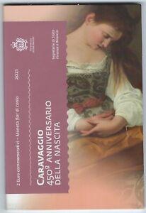 2 Euro Gedenkmünze 2021 aus San Marino, Caravaggio, Klappfolder