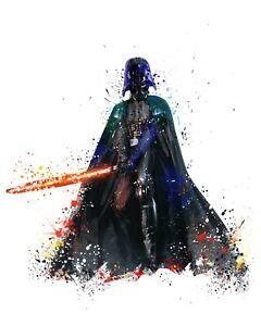 Darth Vader Sith Star Wars A3 Digital Watercolour Splash Effect Poster Print