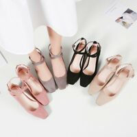 Womens Buckle Square Toe Buckle Pumps Block Chunky Heels Solid Mary Jane Shoes