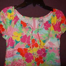 Lilly Pulitzer Aloha Dress Summer Parrots Hibiscus Flowers Beach Hut Size 7
