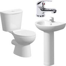 Modern Bathroom Cloakroom Suite Toilet Basin Sink Full Pedestal Mono Mixer Tap
