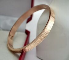 New 18K Rose Gold Filled Solid 6mm Greek Style Bracelet Bangle VINTAGE LOOK Gift