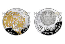 2009 TIGER 100 TENGE KAZAKHSTAN SILVER COIN - GOLD GILDED - REAL DIAMONDS EYES