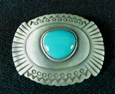 """Western Silver Pewter Turquoise Country Cowboy Bolo Tie Clip 2"""""""