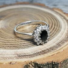 925 Sterling Silver Ring with Large Black & Small Clear Zirconias