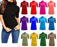 Womens Polo Turtle Neck shirt Ladies Short Sleeve 3/4 Top Vest T-SHIRT UK 8-24