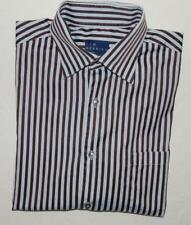 Kim Herring Italy Made Men's Blue Brown Striped L/S Button Down Shirt Size Xl