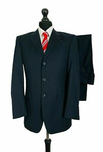 Mens Taylor & Wright 2 Piece Suit 38R 34W 28L Black 100% Wool Formal Smart P216
