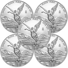 Lot of 5 - 2018 Silver Mexican Libertad Onza 1 oz Brilliant Uncirculated
