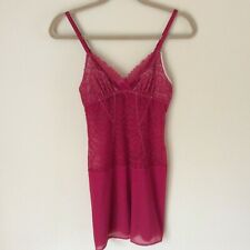 On Gossamer Women's Stretch Lace and Mesh Red Chemise Sleep Shirt Small EUC