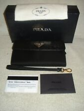 100% AUTHENTIC NEW PRADA SAFFIANO LUX BLACK SMALL WRISTLET WALLET/BAG