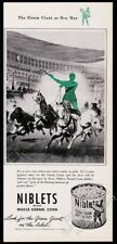 1946 Jolly Green Giant chariot race art Green Giant Peas vintage print ad