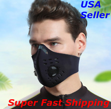 Face Mask Reusable Cover Activated Carbon Filter 2 Exhalation Valves Unisex USA