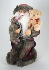 "12"" Woodland Cone Santa Claus Figurine with Bear Christmas Tree Topper"