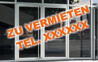 "Aufkleber Schriftzug ""ZU VERMIETEN"" mit Telefonnummer Schaufenster Beschriftung"