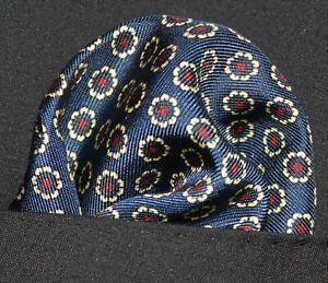 100% SILK Pocket Square Handkerchief  - UK Made - Blue Gold Red DBH-01