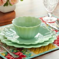 The Pioneer Woman Timeless Beauty 3-Piece Dinnerware Set Jade Dishwasher safe