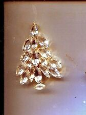 CLEAR CHRISTMAS TREE  PRONG SET  PIN gold