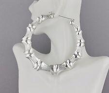 """huge Silver hoop earrings BIG XXL hoops bamboo 4"""" door knocker hollow metal"""