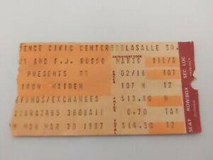 Iron Maiden Concert Ticket Stub 3/30/1987 Providence Civic Center RI