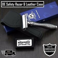 Classic DE Safety Razor & Leather Case > Retro Shaving for Men | Gent's Grooming