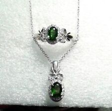 """DIOPSIDE , ZIRCON PLATINUM OVER STERLING SILVER RING SIZE 5 & PENDANT 20"""" CHAIN"""