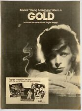 David Bowie 1975 original Poster Advert Young Americans Gold Fame