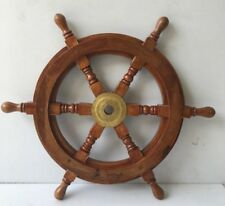 "18"" Nautical Wooden Ship Wheel Home Wall Decor Captain Boat Ship Steering Wheel"