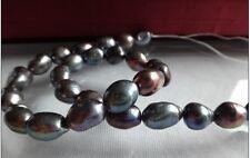 "18""10-13MM natural tahitian genuine black POTATO pearl necklace 14k"