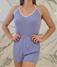 Forever 21 Striped Ribbed Halter Romper Size Medium M Blue White Dress