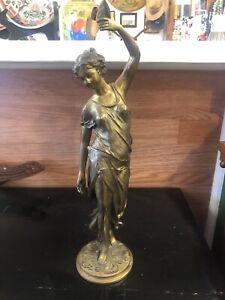 "Ansonia Diana Huntress Mystery Clock Base Reprodution Bronze 15 1/2"" gold gilt"