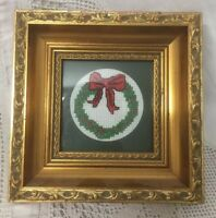 Completed needlepoint vintage Christmas Wreath In Gilded Wooden Frame