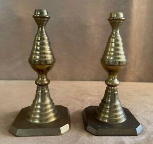 """Pair MCM brass candlestick holder 12"""" high candle sticks spiral swirl"""