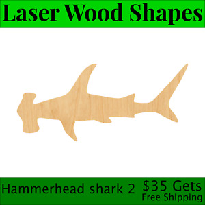 Hammerhead Shark 2 Laser Cut Out Wood Shape Craft Supply - Woodcraft