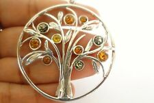 Poland Baltic Amber Tree of Life 925 Sterling Silver Pendant
