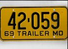 "MISSOURI 1969 license plate ""42-059"""