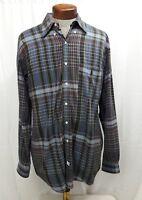 Polo Ralph Lauren Blaire Blue Cotton Plaid Checkered Shirt Mens Large L