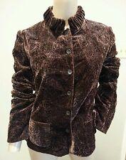 Elie Tahari Crushed Burnout Floral Shiny Silk Velvet Brown Blazer Jacket M