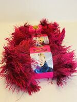 Lion Brand Fun Fur Yarn Magenta Lot Of 3 Bulky 1.75 Oz 64 Yds
