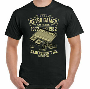 Gamer T-Shirt Gaming Atari Nintendo ZX Spectum Commodore 64 Retro Mens Funny Top