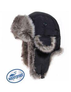 Chapka bonnet noir uni imperméable fourré pour homme,femme confortable et chaud