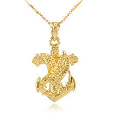 Pure Gold Anchor Eagle Diamond Cut Pendant Necklace