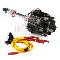 HEI Black Cap Distributor Fits Chevy SBC 350 BBC 454 & Spark Plug Wires Set