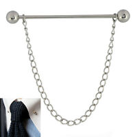 Mens 6CM Silver Barbell End Collar Pin FREE Chain Stainless Steel Tie Bar
