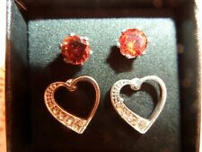 Earrings Set In Gift Box Avon Red Cz and Heart Stud