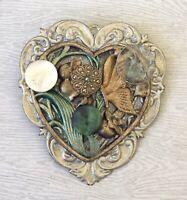 Vintage handmade Heart butterfly flower leaf brooch pin