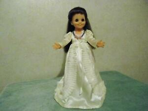 Vintage Ideal Mia Bride Doll in a Wedding Dress of Ivory Satin and Lace