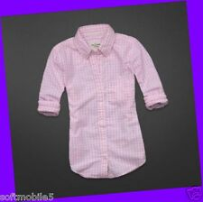Abercrombie & Fitch Womens WHITE & PINK CHECK Tatum Shirt M MEDIUM